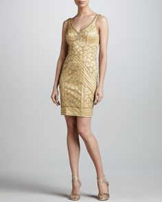 Sleeveless Beaded Cocktail Dress by Sue Wong at Neiman Marcus.