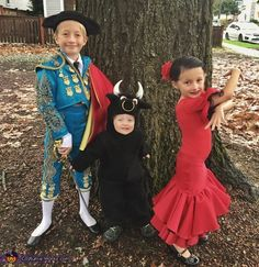 Lindsay: Costumes I made for my three kids. The inspiration came from a pair of castanets we received from grandparents who went to Spain. Bull: Used a pattern for an animal...