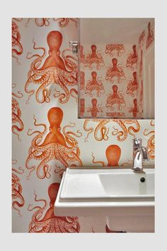Octopus Peel 'n Stick Wallpaper // Goldfish Orange | Etsy