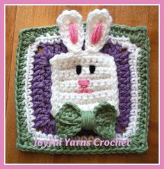Bowtie bunny, found on :  http://www.craftsy.com/pattern/crocheting/other/bowtie-bunny-appliquesquare/51015  Sign in required.