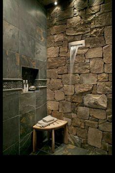 Slate tile bathroom wall