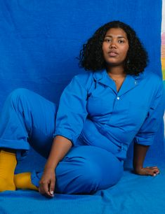 Big Bud Press Headquaters- Cypress Park, CA Model: Morgan Mcglothan Photography: Sara CathStyling: Lacey MicallefFeatured Product:Everyday Jumpsuit- Royal Blue Basic Outfits, Plus Size Outfits, Casual Outfits, Pose Reference Photo, Body Reference, Blue Aesthetic, Aesthetic Clothes, Aesthetic Gif, Aesthetic Vintage