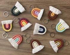 Rainbow Key Chain Bag Accessories, Handmade Bag Tag Set of Two, Mini Rainbow Bag Charm Bulk Order Rope Crafts, Diy Crafts Hacks, Diy Home Crafts, Yarn Crafts, Diy Crafts To Sell, Sell Diy, Macrame Design, Macrame Art, Macrame Projects
