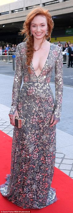 Leading the glamour: Eleanor Tomlinson took to the red carpet at the TV BAFTAS 2017, held at the Royal Festival Hall in London on Sunday night