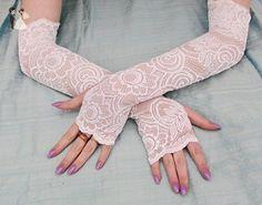 Bridal long lace fingerless gloves opera classic wedding - Bridal gloves (*Amazon Partner-Link)