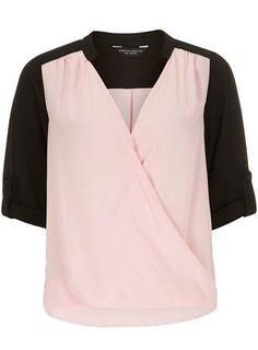 Pink Colour Block Wrap Top