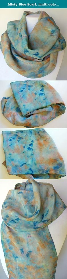 Misty Blue Scarf, multi-colored blue and metallic copper, silk scarf, Scarves for Women, Hand Painted Scarf, Handmade Scarf, Sashes for Women, Belts for Women, Wraps for Women. Shades of deep and muted blues with a hint of pink laced with metallic copper are used in an abstract pattern on this gorgeous scarf! Wear it around your neck or wear it around your waist or hips. This original one-of-a-kind scarf is hand painted on 100% silk and is signed by the artist. A beautiful color…