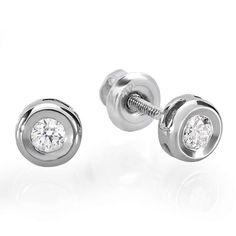 bezel diamond earring | ... Small 14K White Gold Brilliant Round Cut Diamond Bezel Stud Earrings