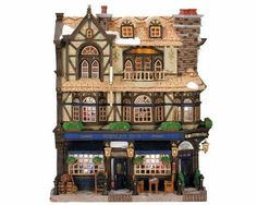 Lemax Village Collection Wesley Pub Facade # Lemax Wesley Pub Facade Item # 45099 Features Include: Lighted with fibre optics Battery-operated Christmas Tree Village, Christmas Villages, Christmas Carol, Christmas Decor, Christmas Ideas, Christmas Ornaments, Light Building, Building Facade, Jacuzzi