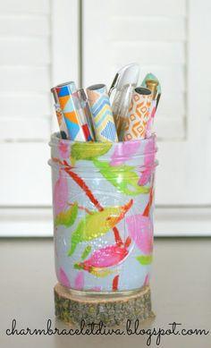DIY Mason jar pen holder using floral fabric and Mod Podge