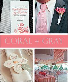 Coral + Grey Wedding #coral #grey #coralandgrey #greyandcoral #creamandcoral #wedding #bridal #weddingcolors www.gmichaelsalon.com
