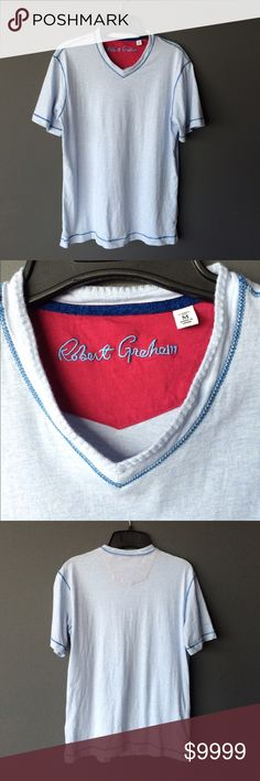 Robert Graham Men's v neck t shirt Condition: Preowned, no holes or stains. Normal wear from washing and wearing  Color: light blue  Measurements: Size medium Underarm to underarm is approximately   20 inches across.  Length from back of neck to bottom of hem is approximately  26 inches.   Materials: see photo of tag Robert Graham Shirts Tees - Short Sleeve