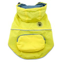 FouFouDog Rainy Day Dog Poncho with Built-in Travel Pouch - Yellow…