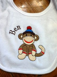 Sock Monkey Personalized Embroidered Bib Misha by mishacoledesigns, $10.00