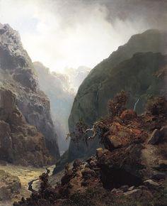 Hans Gude (1825-1903): Fjellandskap 1848 Great Paintings, Old Paintings, Landscape Art, Landscape Paintings, Fantasy Places, True Art, Classical Art, Cool Landscapes, Art Forms