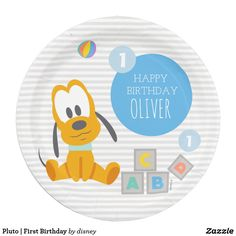 Pluto | First Birthday Paper Plate  sc 1 st  Pinterest & Mickey Mouse | First Birthday Paper Plate | Mickey mouse Mickey ...