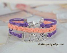 Infinity bracelet,Bridesmaid gifts,silver tone eternity symbol charm. love bracelet,Hand-woven bracelet,Lilac bracelet, Coral bracelet,IB064