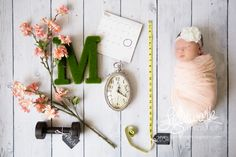 Newborn Statistics by Lightwork Photography, initial, M, flowers, branch, clock, weight, tape measure, calendar, date, birthweight height, length, time of birth