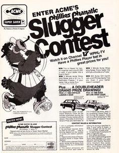 Acme's Phillies Phanatic slugger contest, 1979.