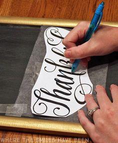 diy thankful chalkboard easy chalk hand lettering cheat is part of Chalkboard writing - DIY Thankful Chalkboard & Easy Chalk Hand Lettering Cheat! Chalkboard Lettering, Chalkboard Designs, Chalkboard Paint, Chalkboard Ideas, Chalkboard Drawings, Chalkboard Stencils, Blackboard Art, Fall Chalkboard Art, Chalk Ideas