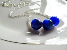Casual, everyday jewelry: Dainty Blue Beaded Necklace - Deep Blue Cats Eye Beads on Thin Silver Chain by Katya Valera, $15.00