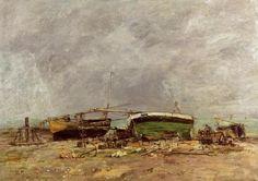 """Etretat"", huile de Eugène Louis Boudin (1824-1898, France)"