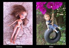 Just a taste of things to come. I found this ex-Bratz doll at the Margate tip shop in Tassie. She was definitely ready for a tree change! I have re-painted her face, sewn overalls, moulded new shoes, and re-conditioned her hair. Her top is hand knitted by my Mum!