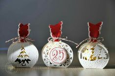 Kirigami, Christmas Tag, Christmas Bulbs, Marie Meyer, Stampin Up, Fancy Envelopes, Treat Holder, Scrapbooking, Diy Box