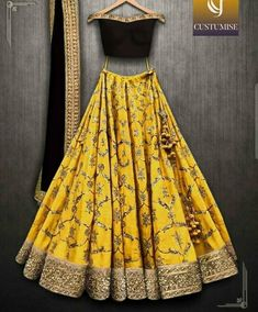 Beautiful Designer Yellow Color Lehenga with Maroon Blouse Party Wear Lehenga Choli-Bridal Lehenga Choli - Designer Dresses Couture Party Wear Lehenga, Bridal Lehenga Choli, Indian Lehenga, Indian Gowns, Indian Attire, Indian Wear, Designer Bridal Lehenga, Indian Party Wear, Party Wear Dresses