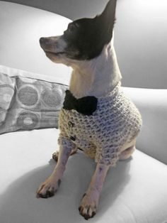This dog sweater is designed like a tuxedo. Dress your pup in it for special occasions or just to keep him warm the winter. Dog lovers can even get