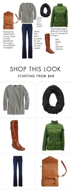 """""""Saturday bar crawl outfit"""" by bethbres13 ❤ liked on Polyvore featuring J.Crew, Steve Madden, Barbour, 7 For All Mankind and Michael Kors"""