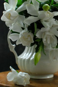 Gardenias from the garden;  I put some in every room. Then it definitely smells like summer in the Sweet South.