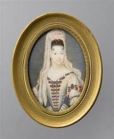 Marie-Anne de Bourbon, dite Mademoiselle de Blois (1666-1739), princesse de Conti, 17th century miniature, French school
