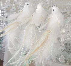 Set 3 Shabby Chic White Feather Holiday Christmas Bird Decorations Ornaments New