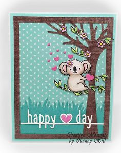 Creative Moments by Nancy Hill: Lawn Fawn KoalaYou can find Lawn fawn and more on our website.Creative Moments by Nancy Hill: Lawn Fawn Koala Happy Love Day, Happy Hearts Day, Paper Crafts Magazine, Lawn Fawn Stamps, Paper Smooches, Animal Cards, Card Kit, Love Cards, Stampin Up Cards