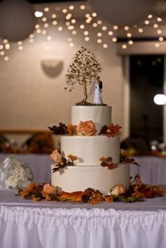 Autumn Wedding Cake: When we talked to our baker, we went with a very plain finish- just smoothed white. We did that because we knew we'd be having the large cake topper on Autumn Bride, Autumn Wedding, Elegant Wedding, Autumn Fall, Thanksgiving Wedding, Fall Wedding Cakes, Wedding Pics, Wedding Ideas, Wedding Stuff