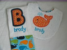 Baby Boy or Girl 2 PC Gift Set Embroidered by embroideredtreasures, $15.00
