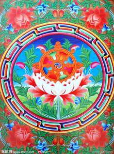 More Tibetan Mandala, Tibetan Art, Tibetan Buddhism, Tibetan Symbols, Buddhist Symbols, Astrological Symbols, Thangka Painting, Buddha Art, Mandala Art