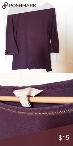 Banana Republic 3/4 Sleeve Top Dark Plum Purple Solid dark purple top with gold detail stitching. Gold accent buttons. 100% cotton. Gently used. Great condition. Banana Republic Tops Tees - Short Sleeve