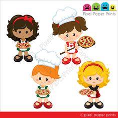 La Pizzeria Girls  Clip art and digital paper set  Pizza