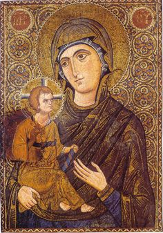"Virgin Mary ""Hodegetria"". Mosaic icon. Late 12th c. - early 13th c. St Catherine's monastery, Mt Sinai, Egypt"