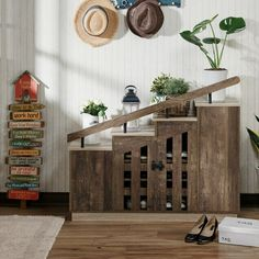 Bay Isle Home 12 Pair Shoe Storage Cabinet Finish: Reclaimed Oak Shoe Storage Cabinet, Bench With Shoe Storage, Toilet Storage, Storage Cabinets, Shoe Cabinets, Closet Storage, Custom Cabinets, Bedroom Storage, Storage Rack