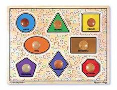 Melissa and Doug Large Shapes Jumbo Puzzle - Little learners can not only figure out how the puzzle works, but also, you can communicate the names of shapes and colors too