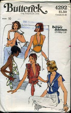 Butterick 4292 Betsey Johnson of Alley Cat halter tops including sailor-style