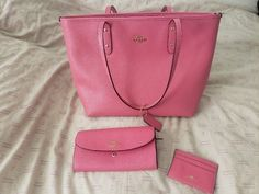 Gift from an Ex. Transported through a flight and has been sitting in my closet since. Ruby Pink Coach Bag retail $295 Coach Wallet retail $239 Coach card case retail $60 $594 value. Selling bundle for $320 Individuals: Bag $175 Wallet $130 Card Case $30 Pink Coach Purses, Coach Bags, Coach Wallet, Purse Wallet, Vintage Coach, Card Case, Retail, Gifts, Closet