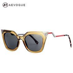 AEVOGUE Brand Cat Eye Bending Temple Sunglasses Women Good quality Sun Glasses Rhinestone Decoration Oculos UV400 AE0203