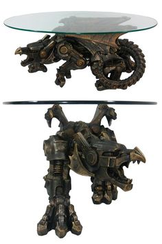 Bronze Finish Steampunk Dragon Glass Top Table - available on Amazon. Would do with just the dragon sculpture!