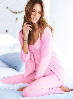 Victoria's Secret Three-Piece Cardigan Pajama in Grape $49.50