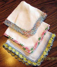 3 Vintage Linen Ladies Hankies with Crocheted Edges... 12.00, via Etsy.