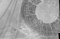 The European Space Agency's Proba-1 satellite shows camper vans and tents at the 2011 Burning Man festival in Black Rock, Nev.